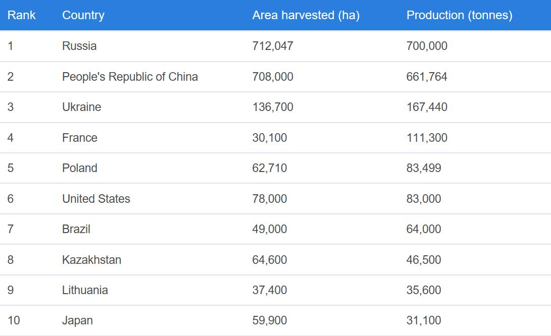 世界顶级荞麦生产国
